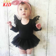 2017 Fashion Lace Princess Romper Baby Girls Long Sleeve Rompers TUTU Layers Mesh Jumpsuit Infants Onesie
