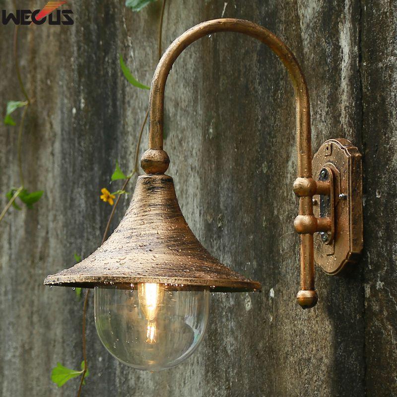 Grand haut-parleur mur lampe, étanche jardin lampe de mur extérieur