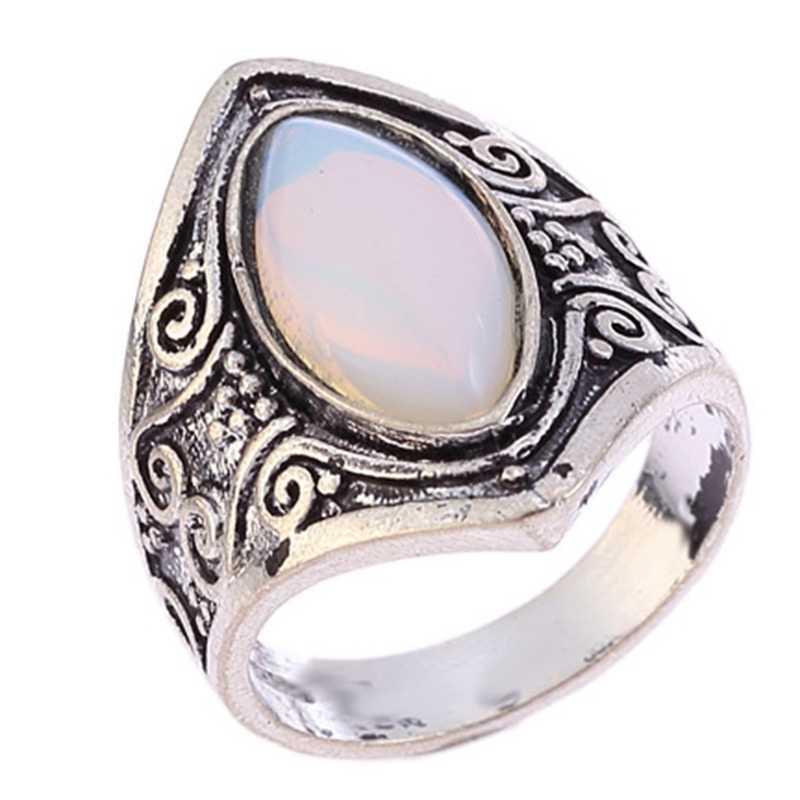 New Hot Bohemian Vintage Prata Grande Anel de Pedra Para As Mulheres Anéis de Casamento Jóias Presente Frete Grátis