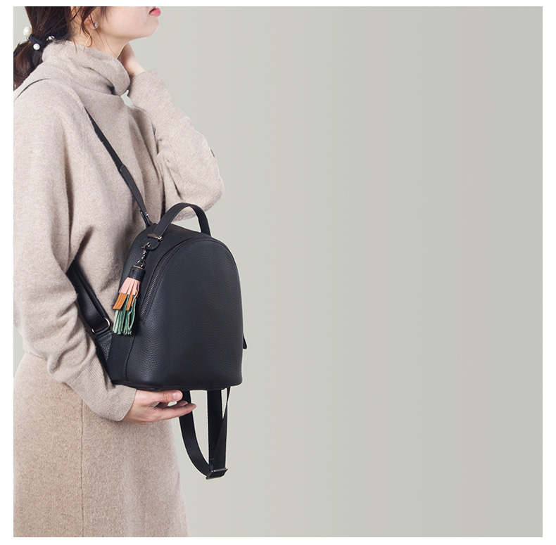Image 5 - Backpack female 2020 new women simple soft leather cowhide mini  backpack luxury fashion small bag female tassel school  backpacksBackpacks