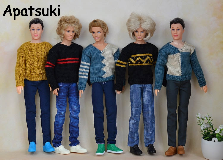 High Quality Casual Knitted Sweater Clothes For Ken Doll For Barbie's Boyfriend Ken Doll Top Coat Clothes Male Doll Clothes