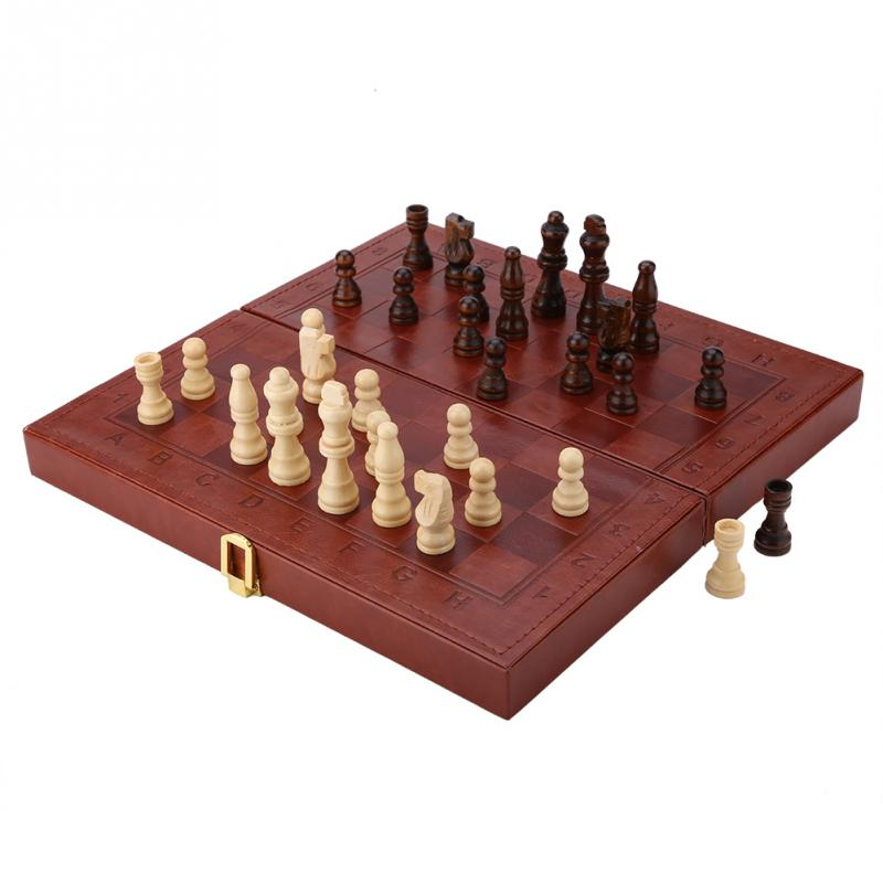 3 in 1 Portable Wooden Chess Checkers and Backgammon Board Game 3