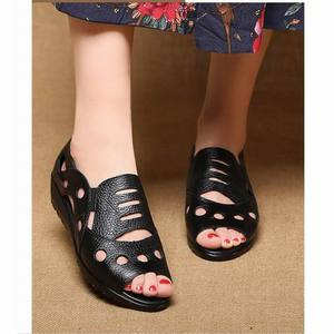 Image 4 - GKTINOO Rome Style Sexy Peep Toe Gladiator Sandals Women Flat Genuine Cow Leather Soft Sole Non Slip Hollow Summer Shoes Woman