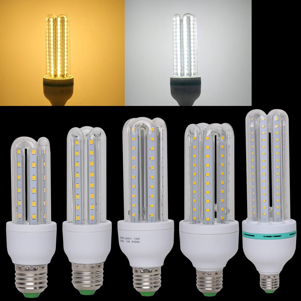 U-shaped LED Lamp 24W E27 LED Corn Bulb Lights AC85~265V SMD2835 360 degree Energy Saving Corn Lighting