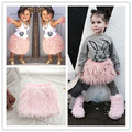baby girls woman faux fur tassel princess tutu skirts casual outfits Mother and daughter fur shirt kids fur clothes 2 color