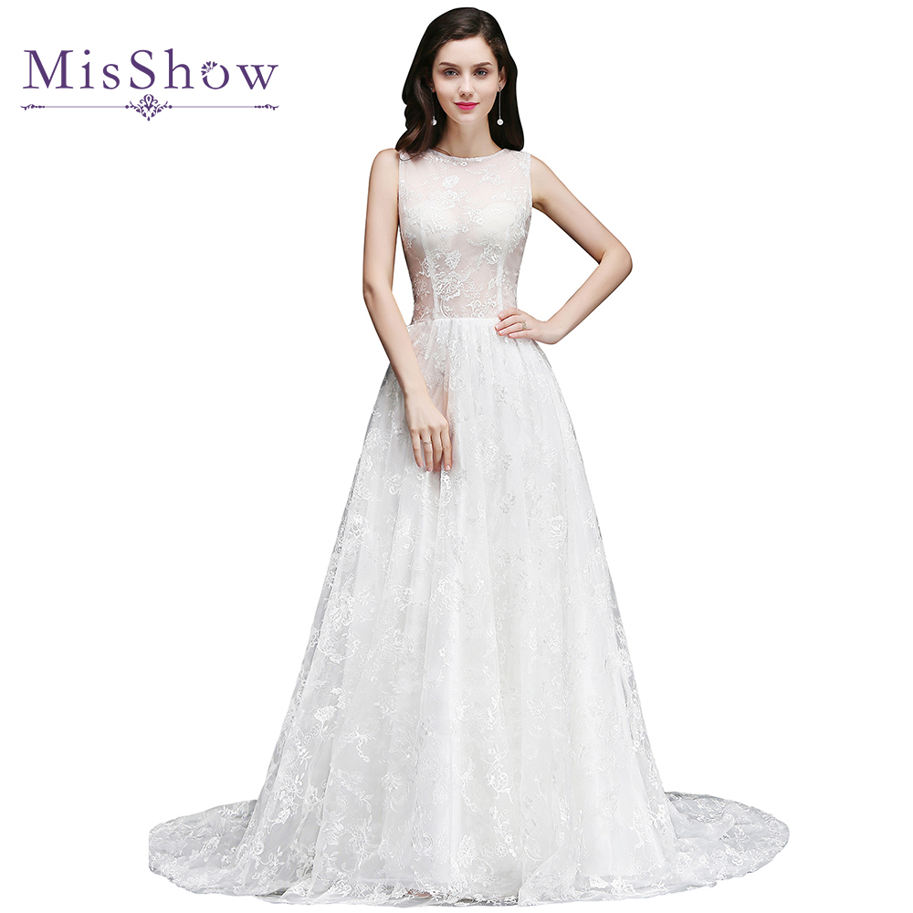 vestidos de noiva simples White Ivory Boho Wedding Dresses Sexy Illusion lace Long Bridal Gown Embroidery Wedding dress 2019