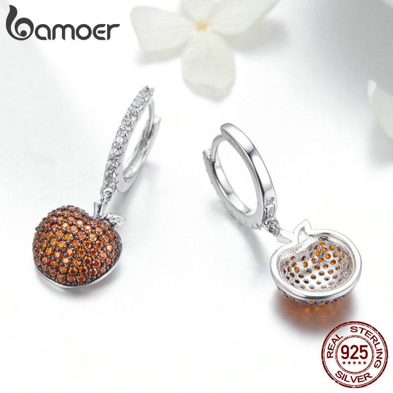 Image 4 - BAMOER Genuine 925 Sterling Silver Small Apples Drop Earrings for Women Orange CZ Zirconia Fashion Jewelry Making SCE523-in Drop Earrings from Jewelry & Accessories