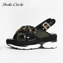 Sourire Cercle 2017 Style Sandales Pour Femmes Chaussures D'été De Mode Strass Plate-Forme Sandales Occasionnels Ouvert Orteils Cheville Sangle Chaussures