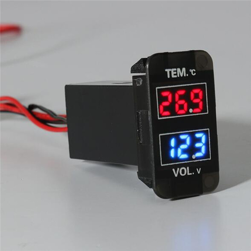 0~30V LED Digital Voltmeter Temperature Gauge 2 In 1 Voltage Temp Meter Red Blue LED Dual Display Black For Car