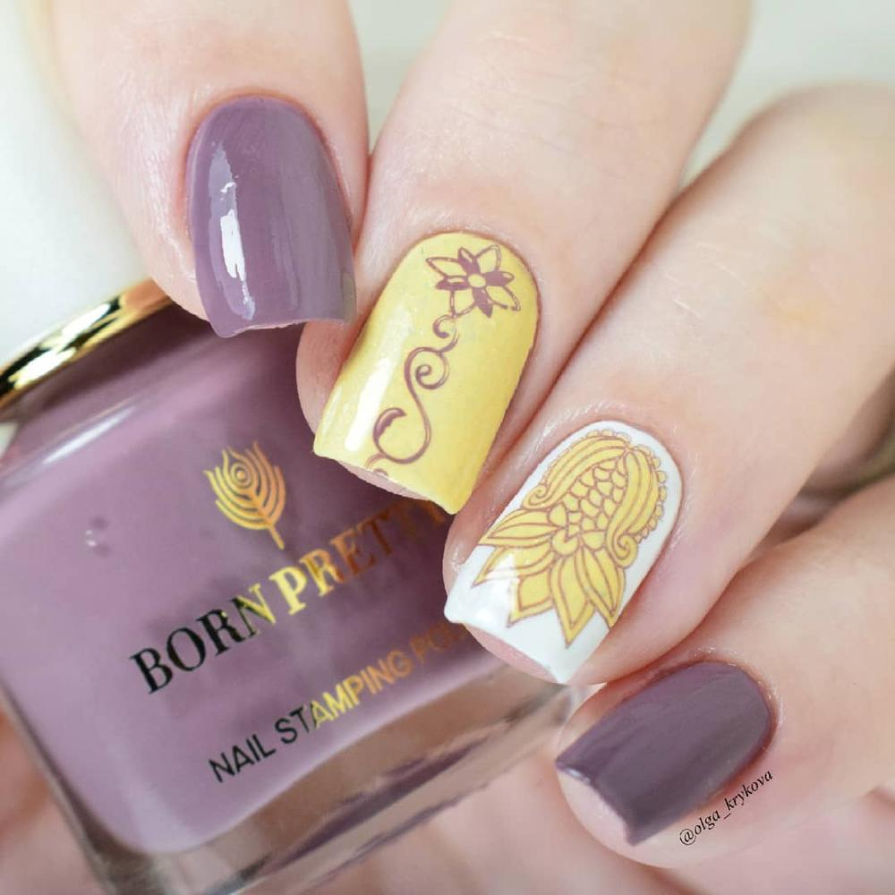 BORN PRETTY 6ml Stamping Polish Pink Purple Series Nail Art Printing Polish Rose Stamping Series Nail Polish in Nail Polish from Beauty Health