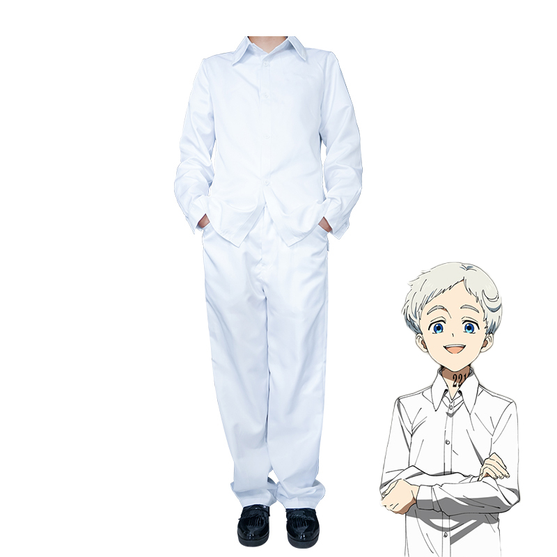 Anime The Promised Neverland Norman Cosplay Costume Yakusoku no Neverland School Uniform White Shirt and Pants