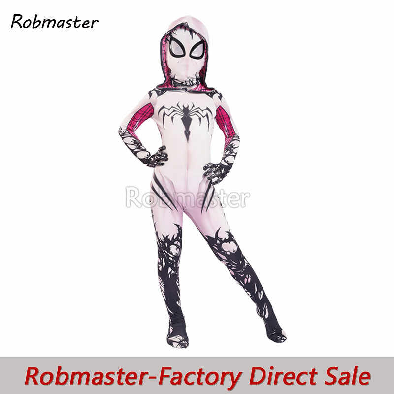 Kinderen Meisjes Venom Spider Gwen Cosplay Kostuum Voor Halloween Kids Spiderman Stacy Zentai Superheld Bodysuit Pak Jumpsuits