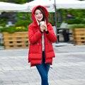 Desgaste neve Amassado Feminino Jaqueta 2016 novas Mulheres Jaqueta de Inverno Longo Fino de Algodão-Acolchoado jacket Outerwear Casaco de Inverno com zíper projeto