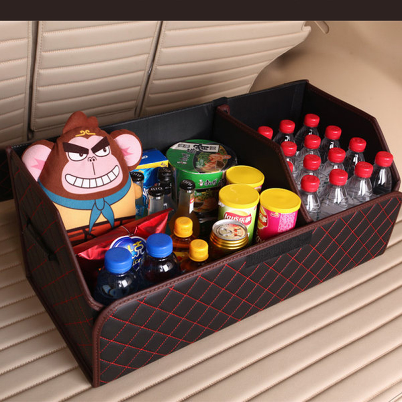 Image 4 - E FOUR Car Stowing Tidying Box Leather Cloth Large Capacity Organizer Storage Bag Folding Car Accessories Holder for Mesh Items-in Stowing Tidying from Automobiles & Motorcycles