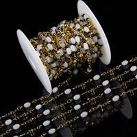 4x6mm En Gros Riz Perles En Verre Chaîne Bijoux, NOUVEAU Chapelet En Verre Électrolytique Fil D'or Enveloppé Liens Bracelet charme Collier