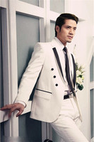 New 2018 Men Suits Set Terno Slim Fit (Jacket+Pants) Men Suit Groom Suits for Wedding Ivory Suits Twinset Homme Tuxedos