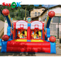 Shooting Hoops Game Giant Inflatable Basketball Hoop Shoot Basketball Inflatable Game with Blower for Playing Center 2 Sizes