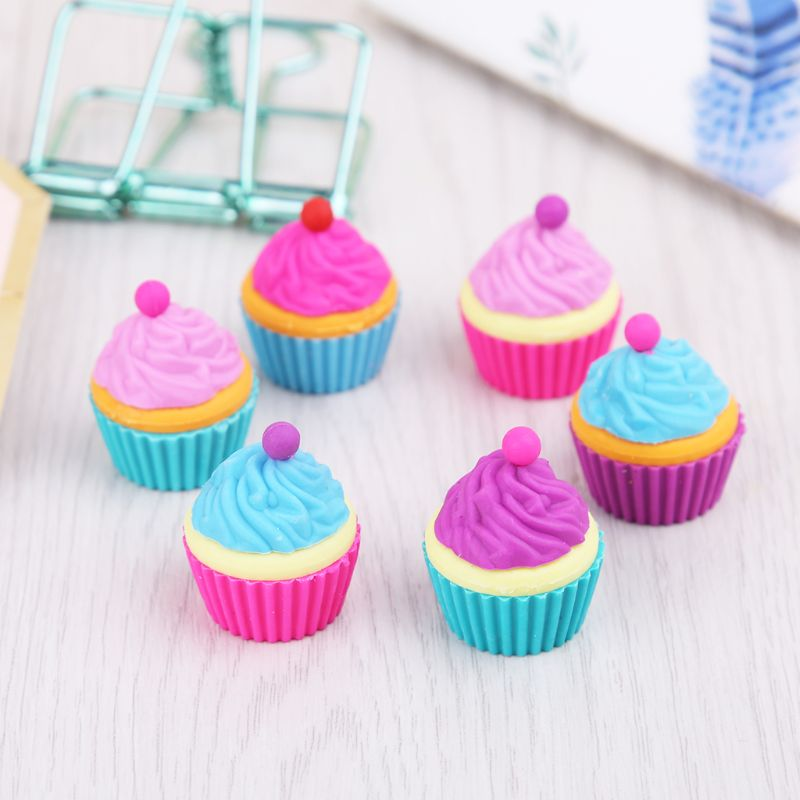 6pcs/set Kawaii Rubber Cake Dessert Cup Eraser Set For Kids Novelty Stationery