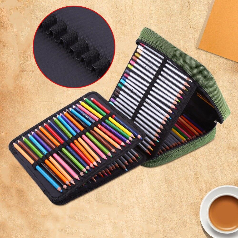 лучшая цена 160 Slots Colored Pencils Universal Pencil Bag Pen Case School Stationery PencilCase Drawing Painting Storage Pouch Pencil Box