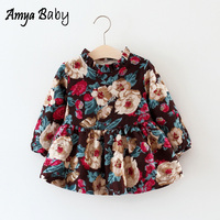 AmyaBaby Winter Newborn Baby Girl Dresses Long Sleeve Thick Warm Christmas Baby Girl Floral Party Dress