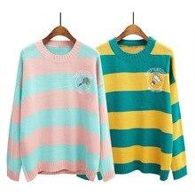 Конфеты цвета женщин полосатый мягкий свитер О-Образным Вырезом свободные пуловеры мультфильм вышивка сладкий femme с длинным рукавом вязаные свитера