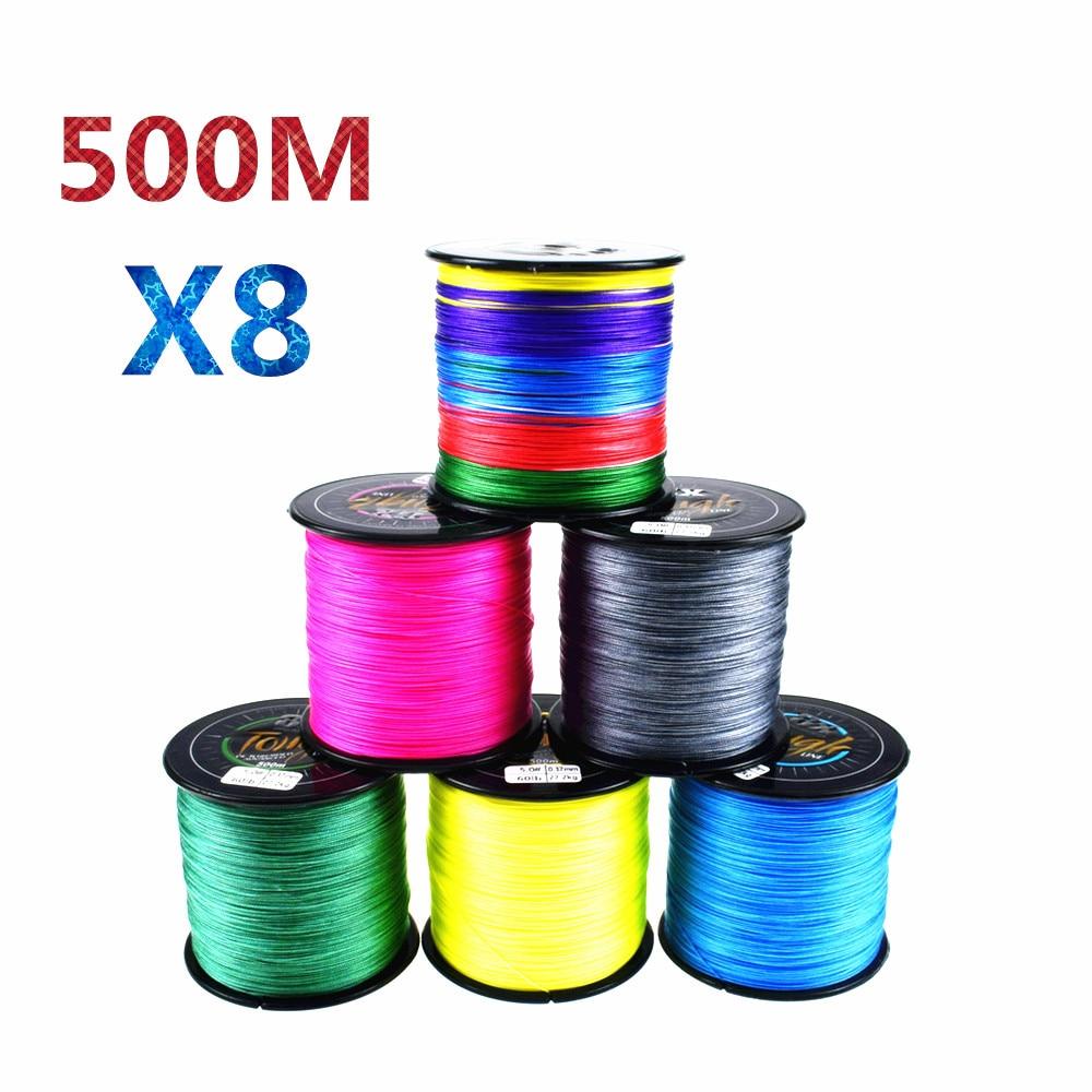 500 Metre 8 Iplikçik PE Örgülü Güçlü olta Multifilament Halat peche Tel 20 30 40 50 60 80 100 120lb
