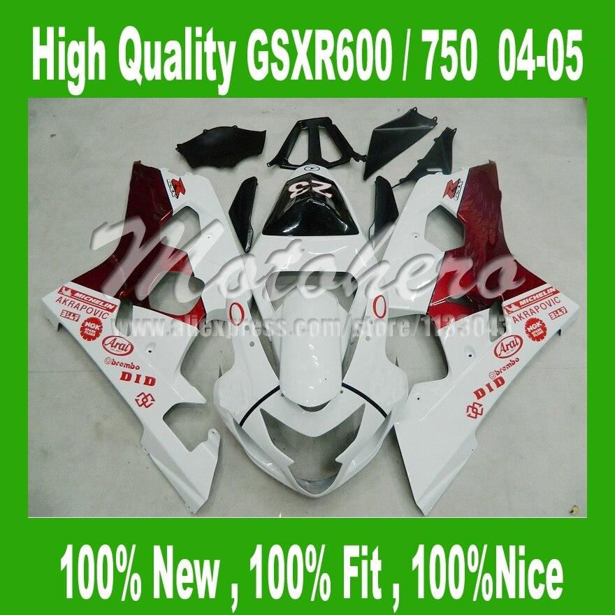ᗗPara Suzuki blanco rojo GSX-R750 gsxr 600 K4 GSX-R600 04 05 ...