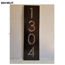Номер дома Вертикальная Современная адресная доска матовый металлический размер варианты на заказ