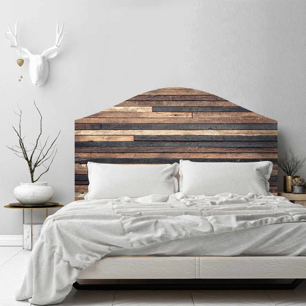 Creative Retro Wood Grain Bed Head Wall Sticker Self Adhesive Bedroom Background Home Decor Removable Waterproof Art Decal Hot