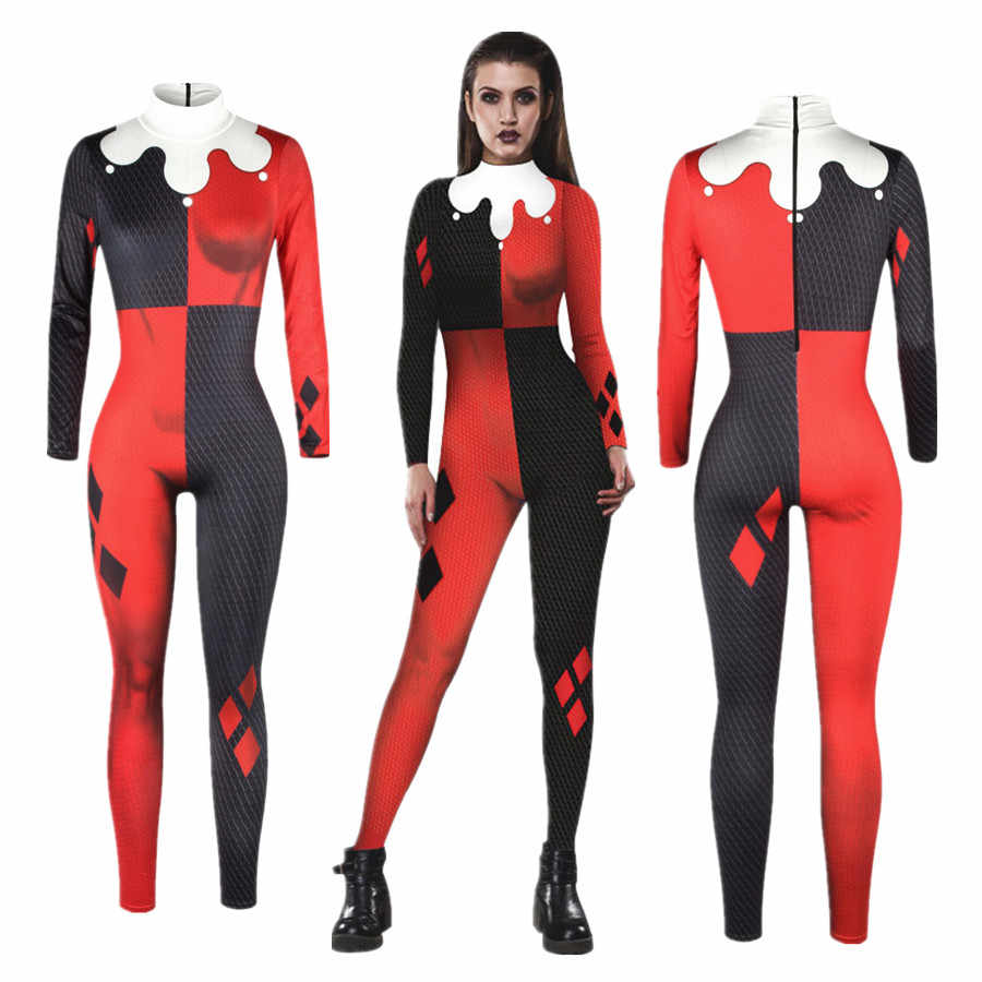 Suicide Squad Harley Quinn Overall Catsuit Sexy Cosplay Kostüme Halloween Frauen Body Phantasie Kleid