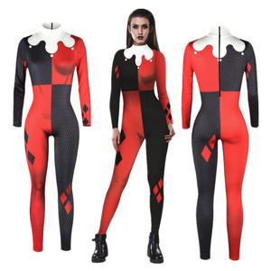 Suicide Squad Harley Quinn Jumpsuit Catsuit Sexy Cosplay Costumes Halloween Women Bodysuit Fancy Dress(China)
