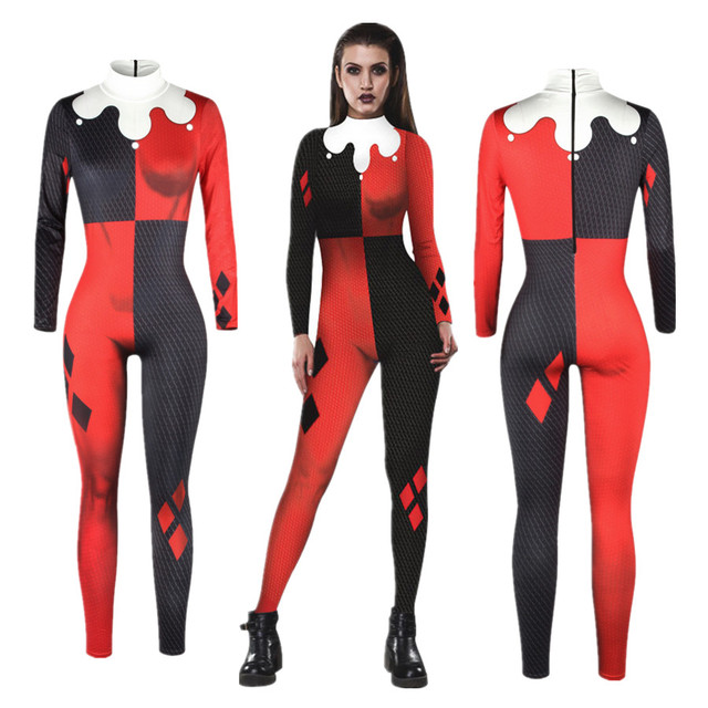 5b607724848ae Suicide Squad Harley Quinn Jumpsuit Catsuit Sexy Cosplay Costumes Halloween  Women Bodysuit Fancy Dress