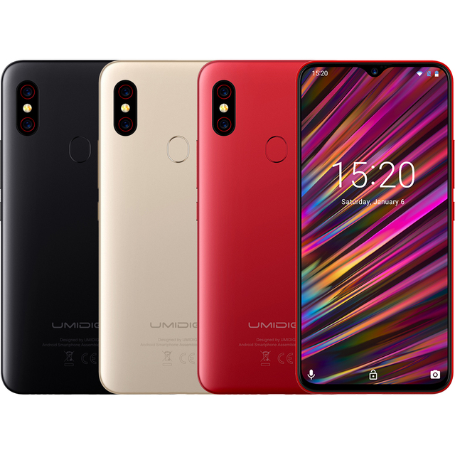 UMIDIGI F1 Android 9.0 6.3″ FHD+ 128GB ROM 4GB RAM Helio P60 5150mAh Big Battery 18W Fast Charge Smartphone 16MP+8MP In stock
