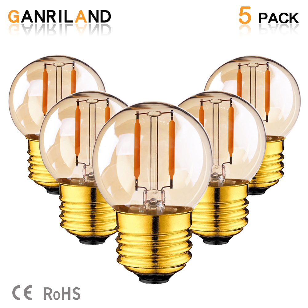 GANRILAND DC/AC 12V-24V 1W LED G40 Filament COB Light Bulb Outdoor Landscape Rope Lamp Warm 2200K E14 Chandelier Candle LED Lamp