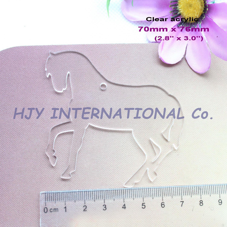 (6pcs/lot) 76mm Clear Blank Acrylic Key Chains Horse Acrylic Keychains Ornaments 3