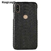 wangcangli Leather python skin cover back cover For Xiaomi Mi 8 case python skin high end custom phone case For Xiaomi Mi Max 3