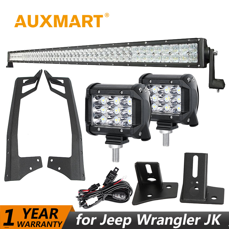 Auxmart 50288W 234W LED Light bar for Jeep Wrangler jk 2007~2017 LED 4 40W 36W 16W Work Light fog Lamp+Mount Brackets+Wire left hand a pillar swith panel pod kit with 4 led switch for jeep wrangler 2007 2015