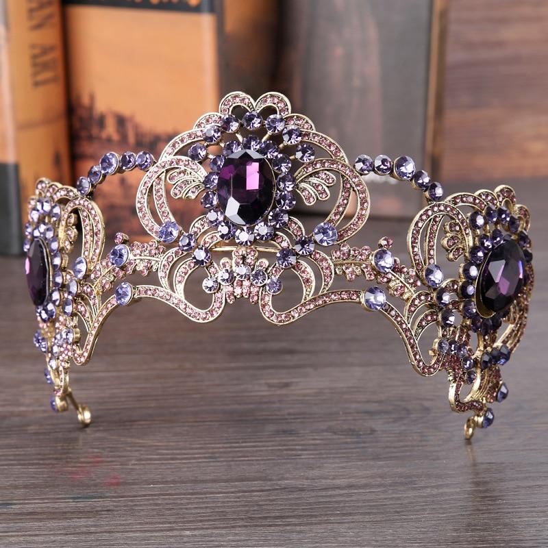 Luxury Wedding Purple Crystal Tiara Crowns Big Flower