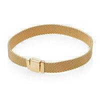 2018 New 925 Sterling Silver Original Pandora Shine Gold Reflexions Bracelet Woven Mesh Design for Women DIY Europe Jewelry Gift