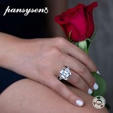 Роскошные женские обручальные кольца PANSYSEN из муассанита с драгоценным камнем, настоящее 925 пробы Серебряное ювелирное изделие, размер 5-12