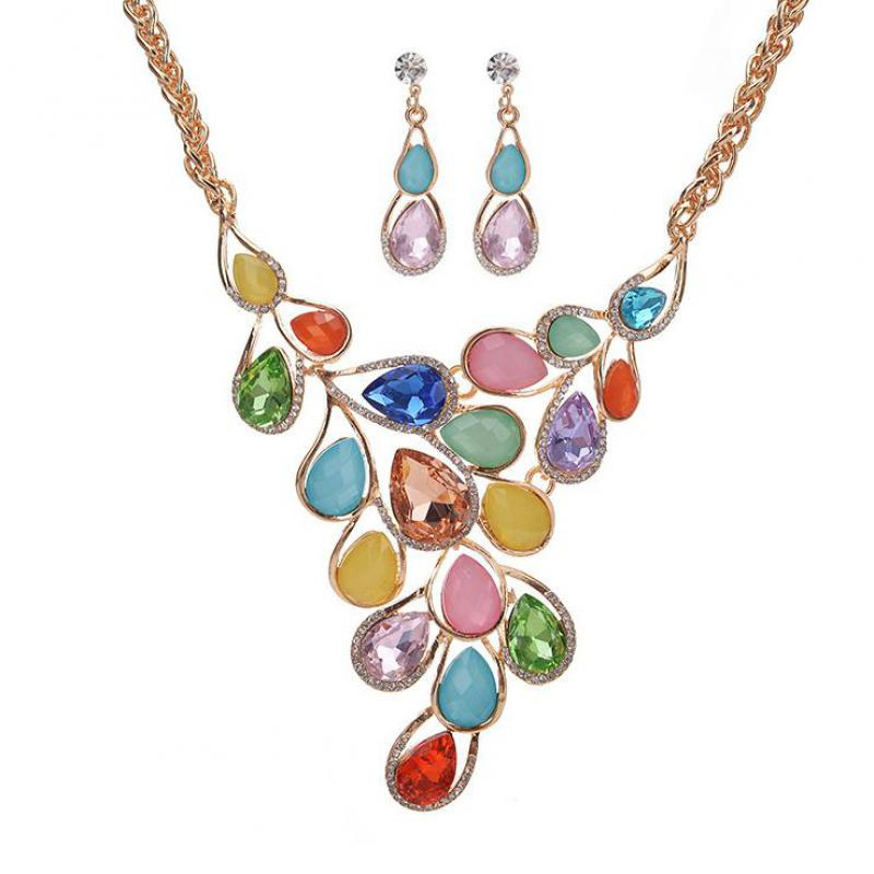 brand Luxury Necklace earrings jewelry sets Necklaces & pendants women accessories 2017 chocker collier femme Water Drop
