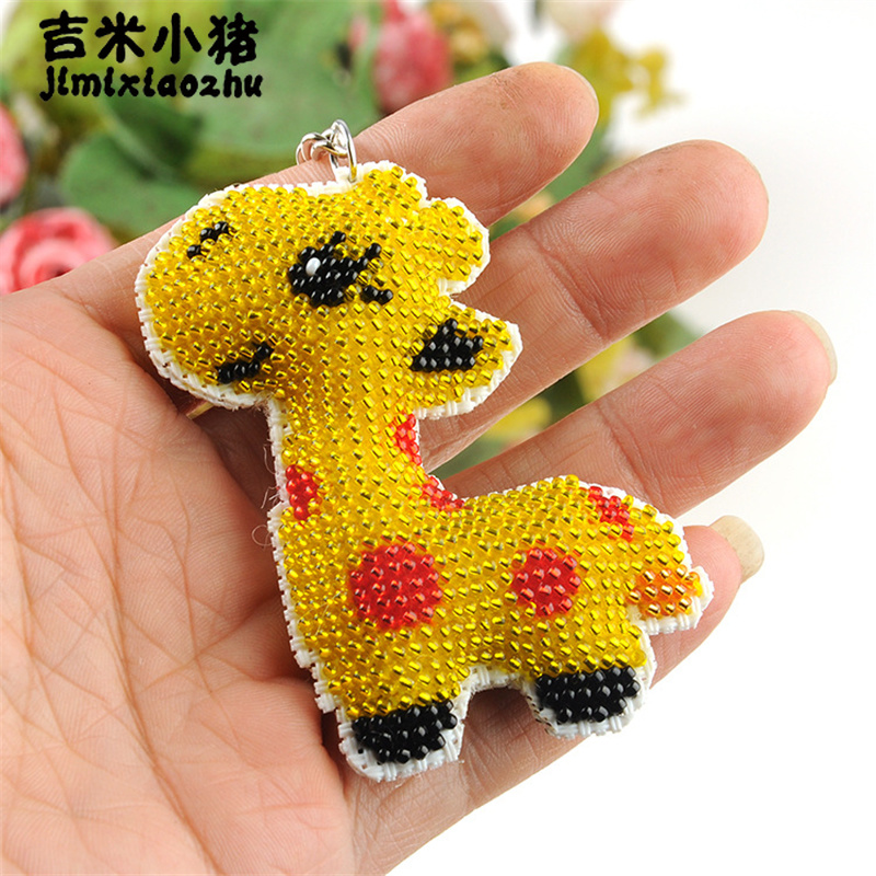 Fashion Beads Toy Children Adult Diy Giraffe With Beaded Key Chain Cartoon Cross-stitch Hand Bag Car Keychain 2018 New Wholesale