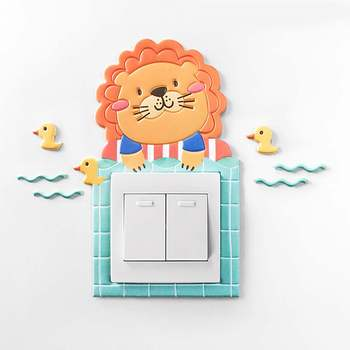 Cute Animal Cartoon Cover Room Light Switch Outlet Wall Sticker Decor Suitable for 8.6x8.6cm Switch Durable Soft PU Leather