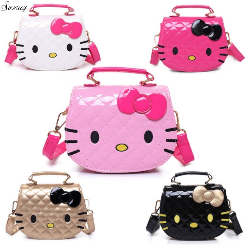 New Cute Mini Bag Children Hello Kitty Handbag For Women Cartoon Cat PU Waterproof Should Bag Kids Girls Fashion Messenger Bags new cute kids tote girls shoulder bag mini bag bowknot handbag designer pu children baby tassel messenger bag women bag