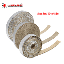 Alconstar- 5m 10m 15m Motorcycle Heat Exhaust Pipe Header Wrap Turbo Resistant Downpipe Fireproof Car Motor Tape Replacement