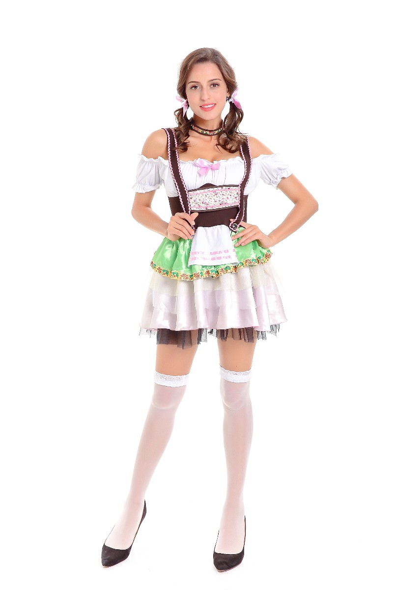 b426334a451b Free Shipping Womens Bavarian Bar Maid Costume White German Oktoberfest  Maid Dress Beer Girl Costume 3S1805-in Sexy Costumes from Novelty & Special  Use on ...