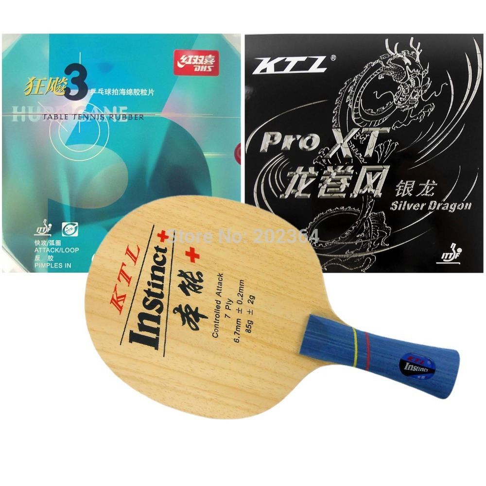 KTL Instinct+ Table Tennis Blade Shakehand With DHS NEO Hurricane3 and KTL Silver Dragon Rubber with sponge Long shakehand FL galaxy yinhe t8s blade ktl rapid speed and blackpower rubber with sponge for a table tennis racket long shakehand fl