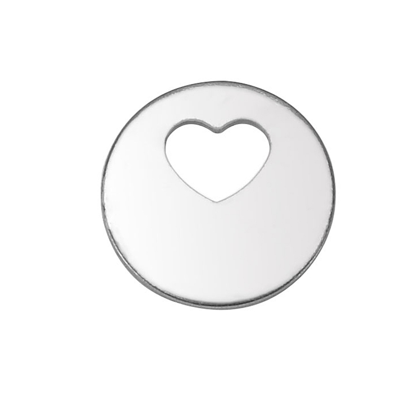 50PCs Stainless Steel Stamping Blank Round Hollow Heart Pendants 12.5mm Dia.