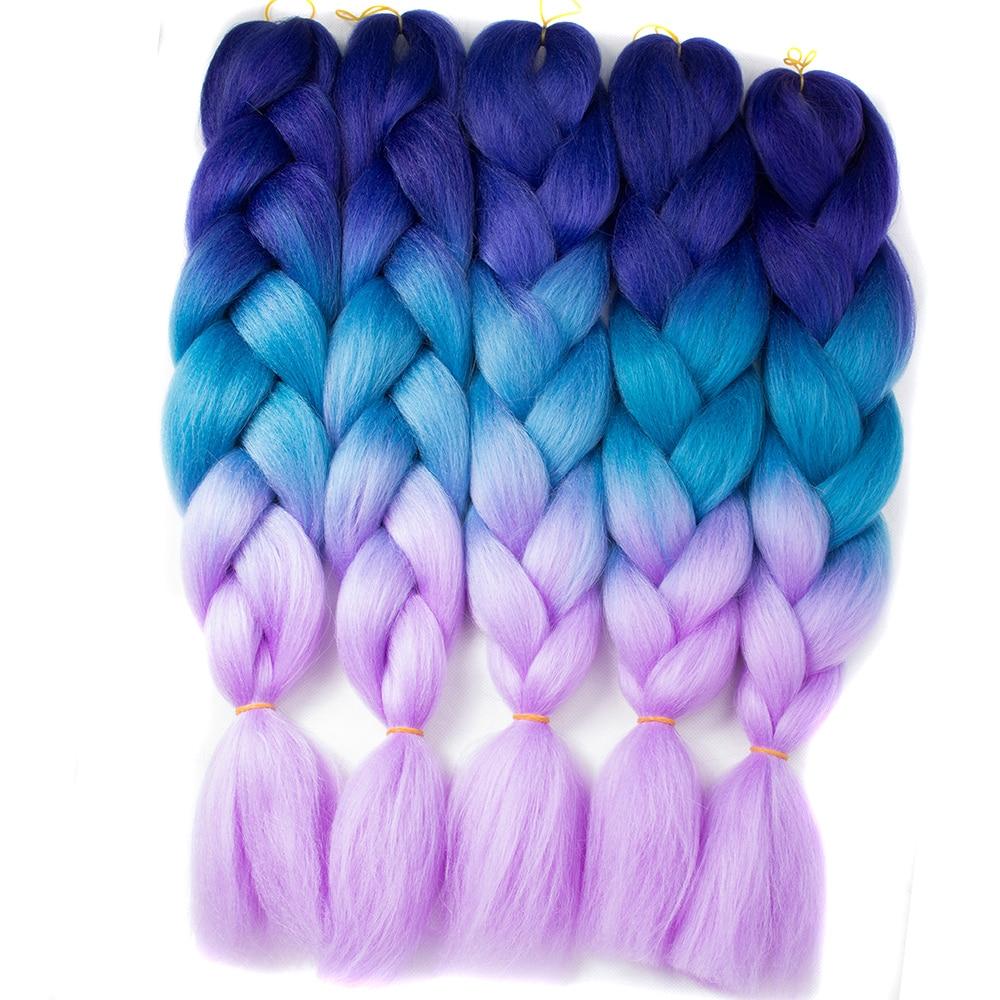 QP 10 peça 24 ''Tranças Jumbo Sintético cabelo Trança de Cabelo 100 g/peça cor ombre alta temperature fiber Extensões de Cabelo