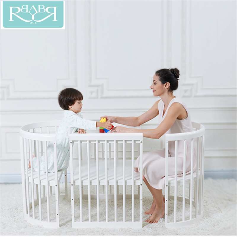 Babyruler 0-12 Years Old Cradle Baby Bed Multifunctional Baby Crib With A Roller Solid Wood Bebek Yataklari Presepio Presepe